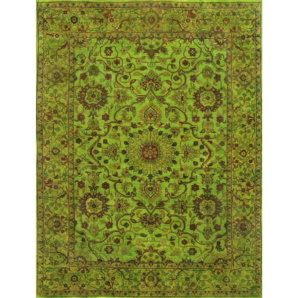 Overdyed Lime Green Rug - 9 x 12