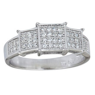 Decadence Sterling Silver Micropave Cubic Zirconia Ring