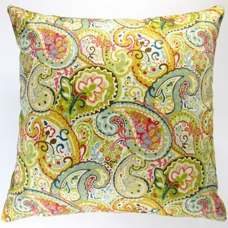 Artisan Pillows Indoor 18-inch Paisley Style Flowers in Multicolor Modern Floral Accent Throw Pillow Cover