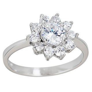 Decadence Sterling Silver Micropave Cubic Zirconia Flower Ring