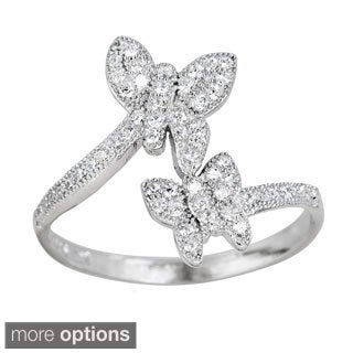 Decadence Sterling Silver Micropave Cubic Zirconia Butterfly Ring