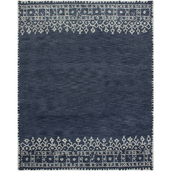 Desa Bordered Wool Indigo Rug - 8 x 10