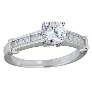 Decadence Sterling Silver Micropave Round and Princess-cut Cubic Zirconia Halfband Ring