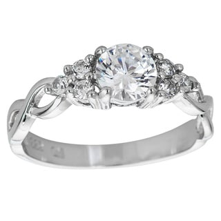 Decadence Sterling Silver Micropave Round-cut Cubic Zirconia Solitaire Twist Shank Ring