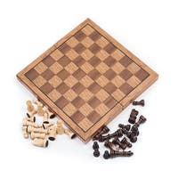 Trademark Games Wooden Book-Style Chess Board with Staunton Chessmen - Brown