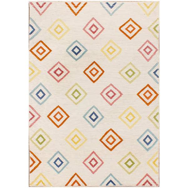 Double Diamond Flat Weave Ivory Wool Rug - 8 x 10