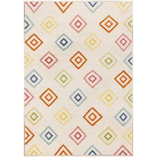Double Diamond Flat Weave Ivory Wool Rug(8 x 10)