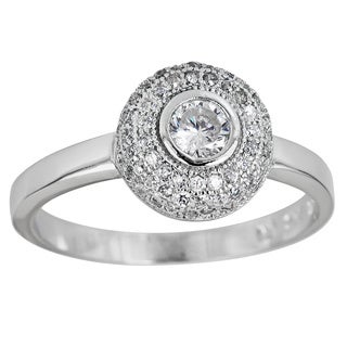 Decadence Sterling Silver Micropave Halo Bezel Set Round-cut Cubic Zirconia Ring