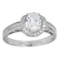Decadence Sterling Silver Micropave Halo Oval-cut Cubic Zirconia Ring