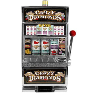 Crazy Diamonds Slot Machine Bank with 100 Tokens by Trademark Poker
