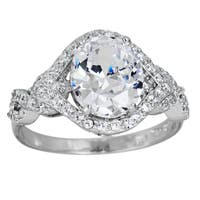 Decadence Sterling Silver Micropave Oval-cut Cubic Zirconia Twist Shank Ring