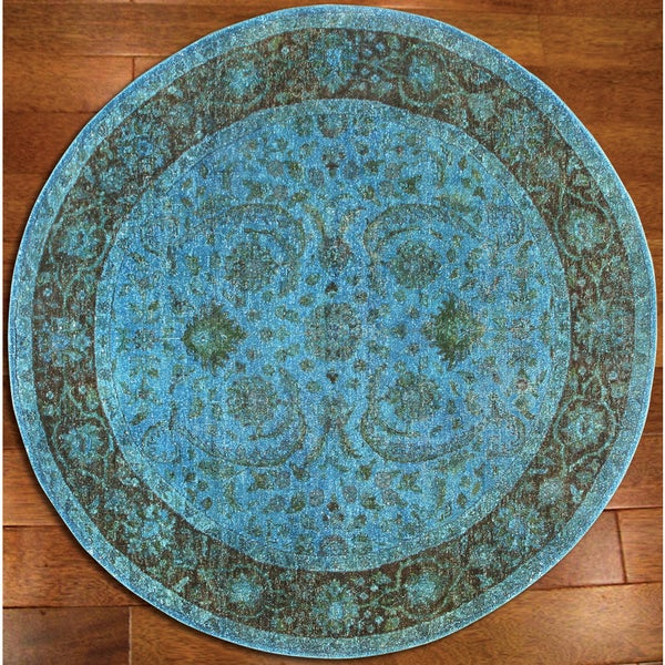 Overdyed Aqua Breeze Rug - 6' Round