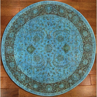Overdyed Aqua Breeze Rug (6' Round)