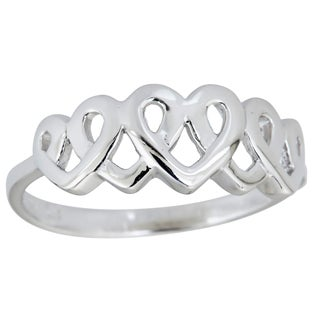 Decadence Sterling Silver 5 Interlocking Heart RIng