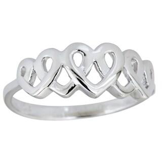 Decadence Sterling Silver 5 Interlocking Heart RIng