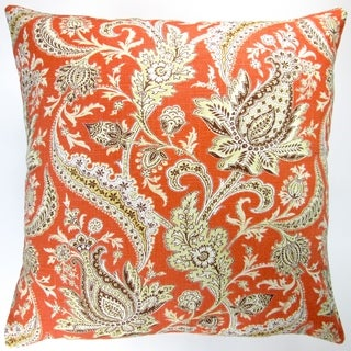 Artisan Pillows Indoor 20-inch Classic Vintage Paisley in Orange Modern Contemporary Cottage Decor Accent Throw Pillow
