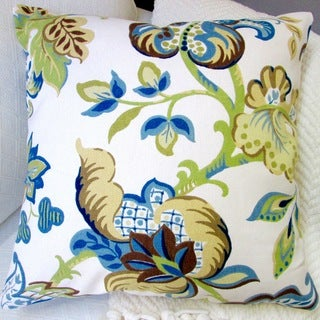 Artisan Pillows Indoor 20-inch Garden Flowers Modern French Cottage Floral Accent Throw Pillow