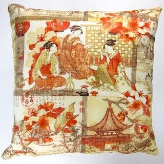 Artisan Pillows Indoor 18-inch High End Asian Far East Oriental Orange Modern Accent Throw Pillow