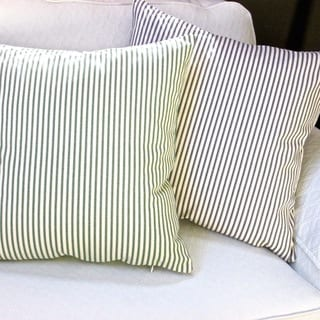 Artisan Pillows Indoor 20-inch French Ticking Stripe in Black or Green Cottage Beach House Decor Accent Throw Pillow