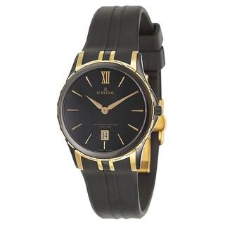 Edox Women's 'Grand Ocean' Black and Yellow Goldtone Stainless Steel Swiss Quartz Watch