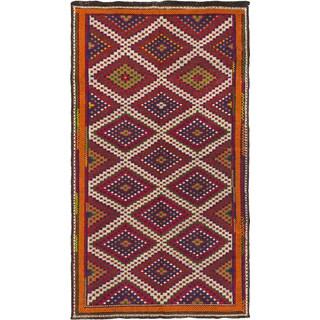 Ecarpetgallery Ottoman Kashkoli Cream/ Dark Red Wool Geometric Sumak (6' x 10'1)