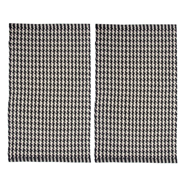 "Chesapeake Portland Houndstooth 2pc. Black Accent Rug Set (21""x34"") - 21""x34"""