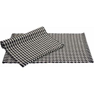 Portland Houndstooth 2-piece Black Accent Rug Set