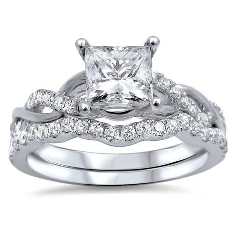 14k White Gold 1ct TDW Princess-cut Clarity Enhanced Diamond Bridal Ring Set