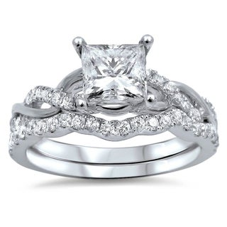Noori 14k White Gold 1ct TDW Princess-cut Clarity Enhanced Diamond Bridal Ring Set (More options available)