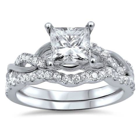 14k White Gold 1ct TDW Princess-cut Clarity Enhanced Diamond Bridal Ring Set