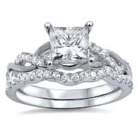 Noori 14k White Gold 1ct TDW Princess-cut Clarity Enhanced Diamond Bridal Ring Set