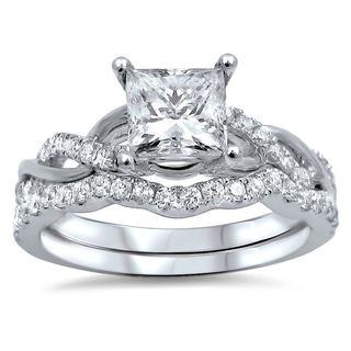 Noori 14k White Gold 1ct TDW Princess-cut Clarity Enhanced Diamond Bridal Ring Set