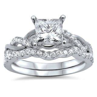 Noori 14k White Gold 1ct Tdw Princess Cut Clarity Enhanced Diamond Bridal Ring Set