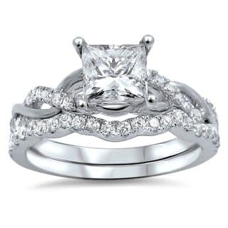 noori 14k white gold 1ct tdw princess cut clarity enhanced diamond bridal ring set - Princess Cut Diamond Wedding Ring
