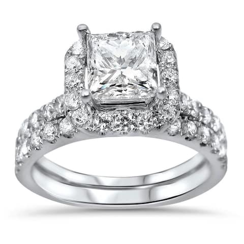 18k White Gold 2ct TDW Princess-cut Diamond Enhanced Bridal Ring Set
