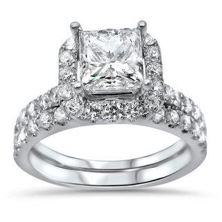 18k White Gold 2ct TDW Princess-cut Diamond Enhanced Bridal Ring Set