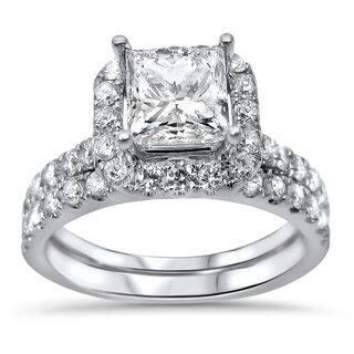 Noori 18k White Gold 2ct TDW Princess-cut Diamond Enhanced Bridal Ring Set https://ak1.ostkcdn.com/images/products/10397152/P17499808.jpg?impolicy=medium
