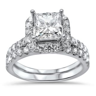 Noori 18k White Gold 2ct TDW Princess-cut Diamond Enhanced Bridal Ring Set