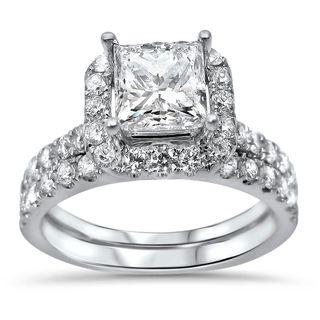 Noori 18k White Gold 2ct TDW Princess-cut Diamond Enhanced Bridal Ring Set