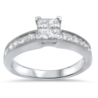 Noori 14k White Gold 5/8ct TDW Princess-cut Diamond Quad Engagement Ring