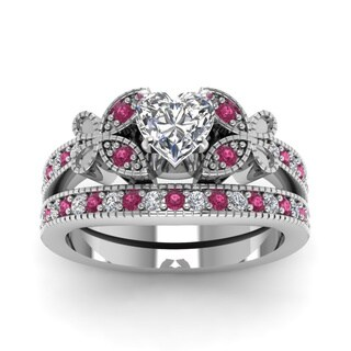14k White Gold 7/8CTtw Heart-cut Diamond and Pink Sapphire Wedding Ring Set by Fascinating Diamonds (G-H, SI1-SI2, GIA)