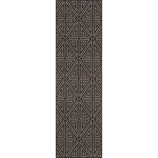 "Momeni Baja Diamonds Charcoal Indoor/Outdoor Area Runner Rug - 2'3"" x 7'6"""