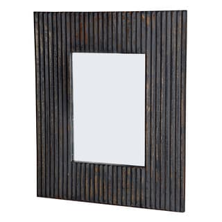 Linea Rectangular Brown Line Distressed Brown Finish 2-way Hanging Mirror