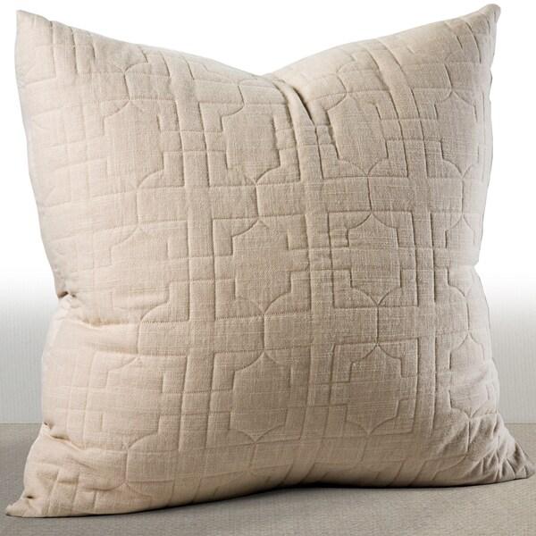 Chauran Riviera Sand Beige Embroidered Cotton Euro Sham