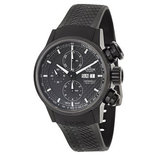 Edox Men's 'Chronorally' Black Stainless Steel Swiss Mechanical Automatic Watch
