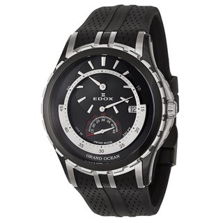 Edox Men's 'Grand Ocean' Black and Silvertone Swiss Mechanical Automatic Watch