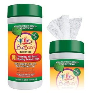 BugBand Insect Repelling Geraniol Towelettes 40 Count Tub