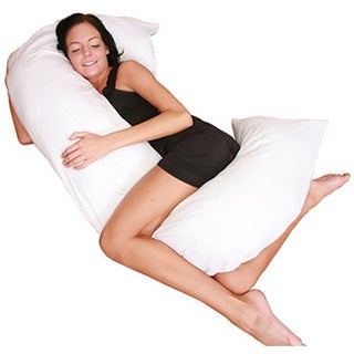 Cover for C-Shaped Full Body Pillow - Stain-Resistant - Allergen-Free - Pillow Cover, White