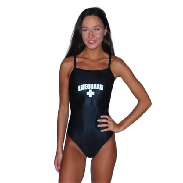 60afcded94 Shop Black Lifeguard Women's One-Piece Polyester Swimsuit - Free ...