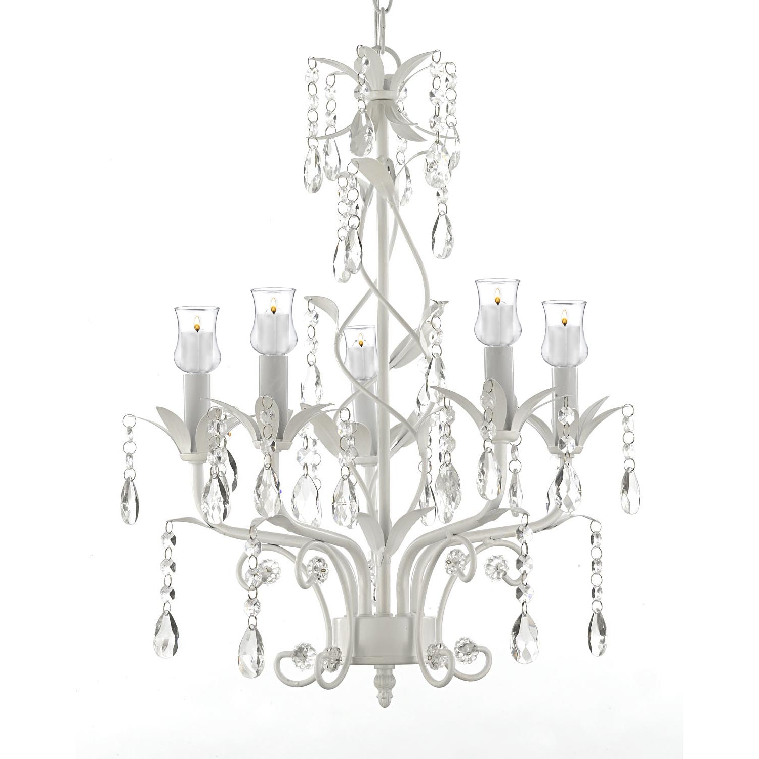 Lane Wrought Iron & Crystal 5 Light White Chandelier W/ C...